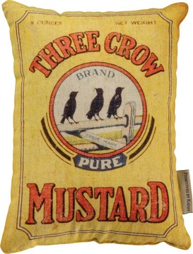 Three Crow Mustard Pillow