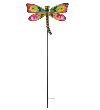 Floral Dragonfly Stake - Red