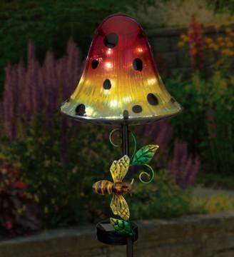 Dottie Mushroom Solar Stake - Orange