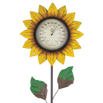 Flower Thermometer Stake - Yellow