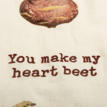 Dish Towel Heart Beet