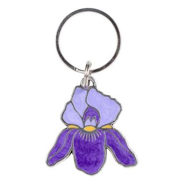 Purple Iris Pewter Keyring