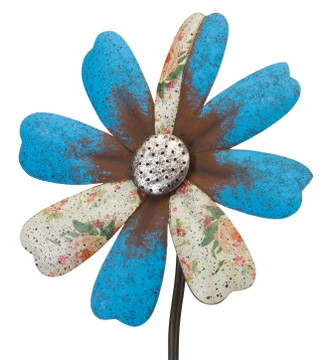 Rustic Flower Wind Spinner Stake- Blue