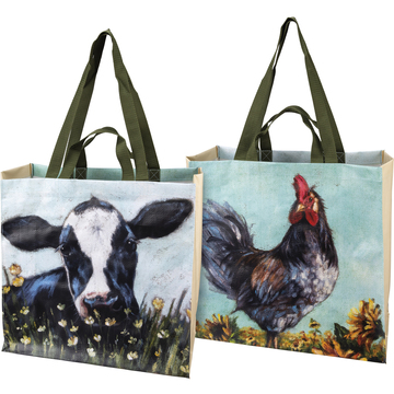 Market tote, cow on one side, chicken on the other