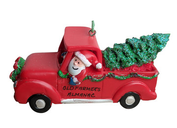 Ornament - Almanac Santa in Red Pickup Truck