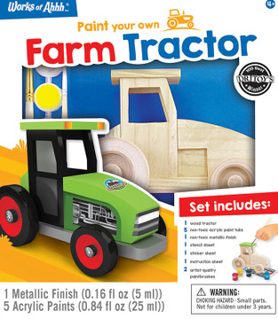 Classic wood paint kit, 1 farm tractor, for kids over 3 years old