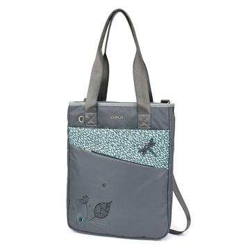 Zip Around tote or purse - Dragonfly - grey