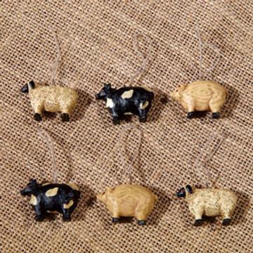 Mini Farm Animal Ornaments Set of 6