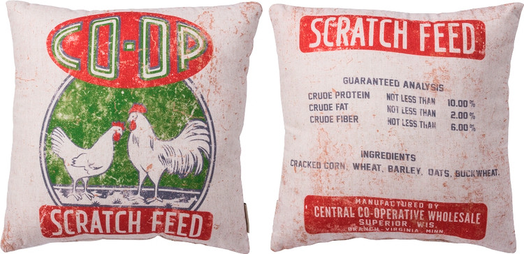 Feed Sack Pillow - Coop Scratch Feed