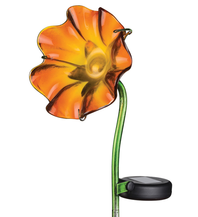 Mini Solar Poppy Stake - Orange