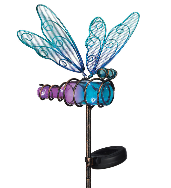 Mini Solar Dragonfly Stake - Blue