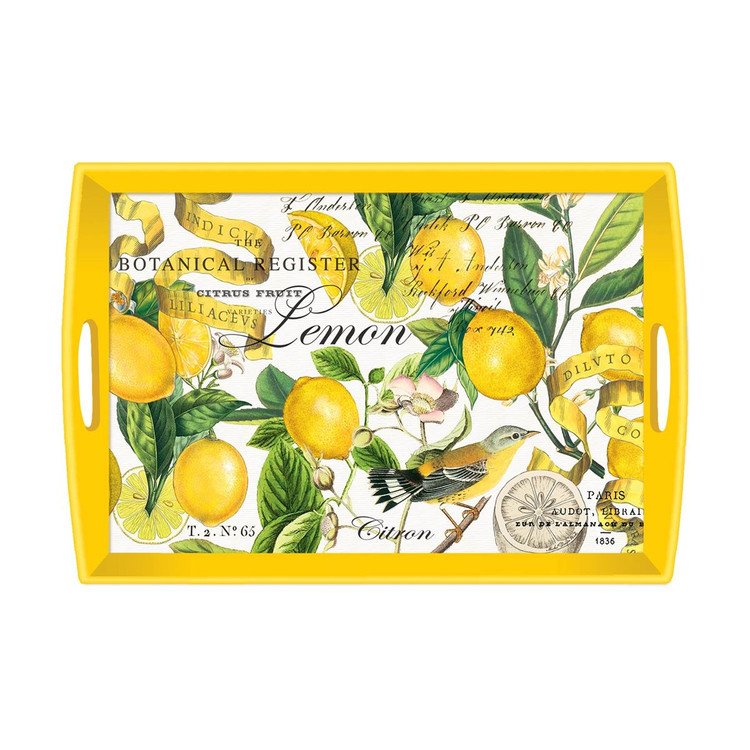 Lemon Basil Decoupage Wooden Tray