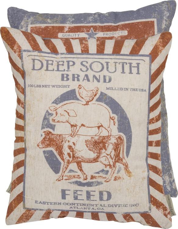 Feed Sack Pillow - Deep South