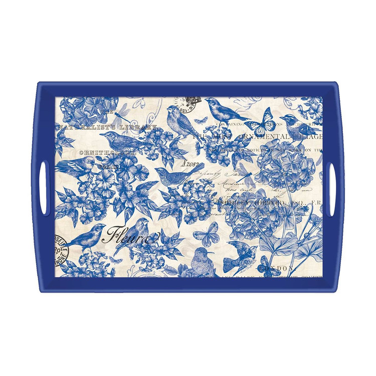 Indigo Cotton Decoupage Wooden Tray