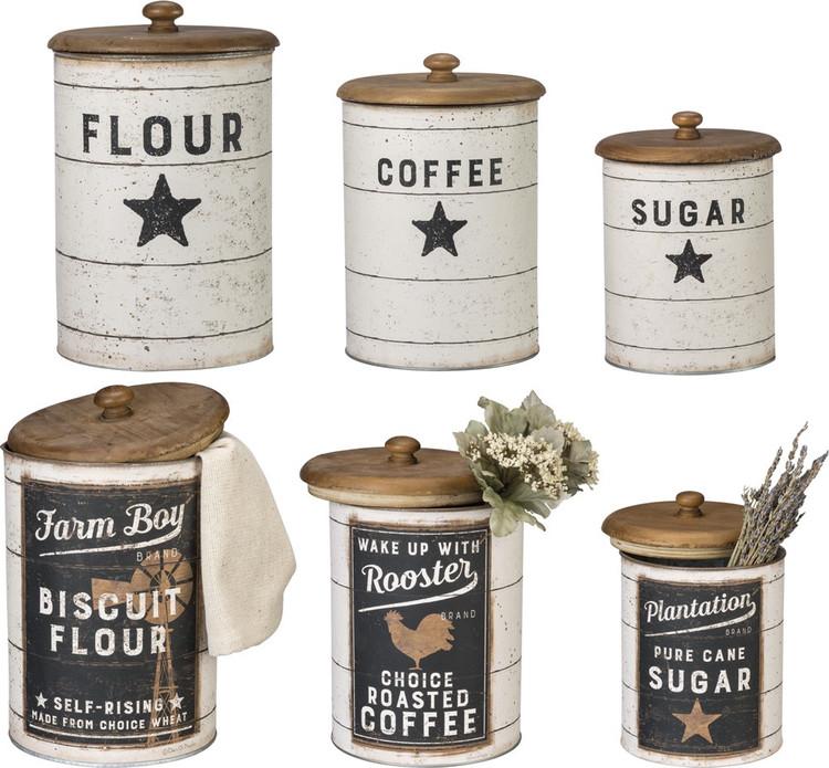 Tin Canisters - Sugar Coffee Flour
