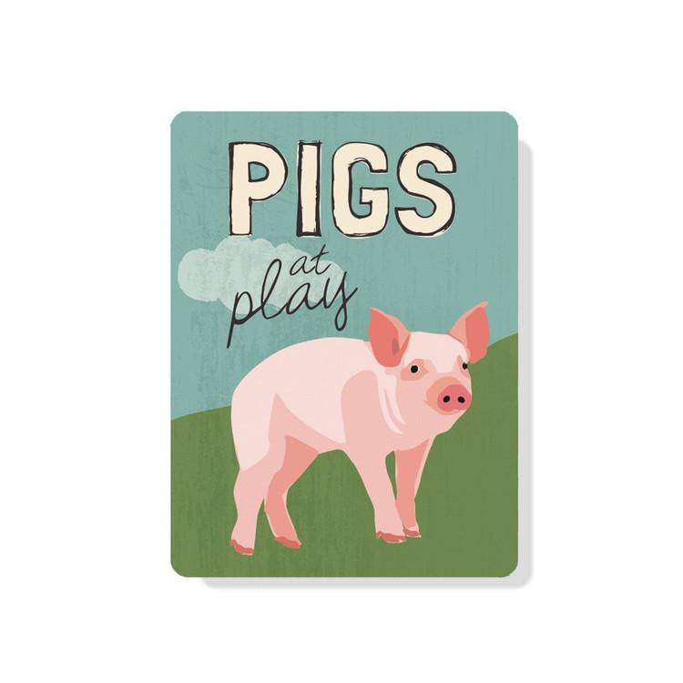 """Pigs At Play 9"""" X 12"""""""