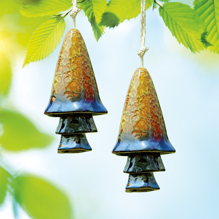 Blue Banded Mushroom Windchimes Set of 2