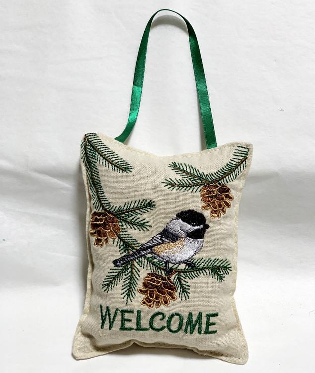 Chickadee Door Welcome Balsam Filled Pillow