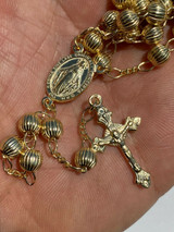 14k Gold Over Solid 925 Silver Men Rosary Beads Necklace Rosario 6mm Diamond Cut