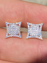 Mens Real 925 Sterling Silver Iced Diamond HipHop Square Kite Earrings Screwback