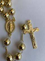 14k Gold Over Solid 925 Silver Men's Rosary Beads Necklace Rosario Large Hip Hop