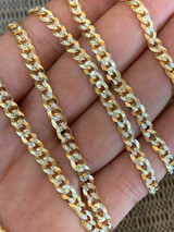 Men's Diamond Cut 5mm Cuban Chain 14k Gold Over Solid 925 Silver Two Tone ITALY