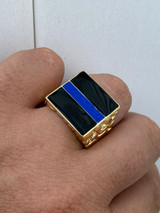 14k Gold Over REAL Solid 925 Silver Ring Blue Lives Matter Thin Blue Line Police