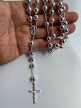 Men's Large Rosary Beads Necklace Solid 925 Sterling Silver Rosario ITALY 8mm