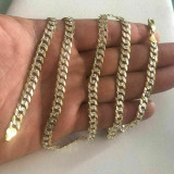 Men's Diamond Cut 6mm Cuban Chain 14k Gold Over Solid 925 Silver Two Tone ITALY