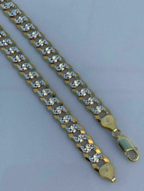 Men's Diamond Cut 8mm Cuban Chain 14k Gold Over Solid 925 Silver Two Tone ITALY