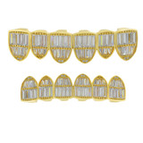Real 14k Gold Over Solid 925 Silver Grillz Baguette Iced Grills Top Bottom Teeth