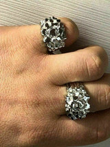 Men's REAL Solid 925 Sterling Silver Heavy Nugget Ring