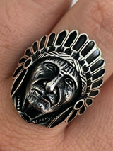 Mens Real Solid 925 Sterling Silver Large Indian Head Chief Biker Ring Sz 7-13