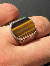 Solid 925 Sterling Silver Tiger's Eye Mens Signet Ring Size 7 8 9 10 11 12 13