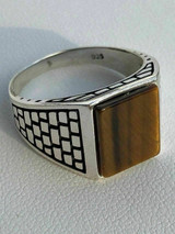 Mens Real Solid 925 Sterling Silver Tiger Eye Square Ring Size 7 8 9 10 11 12 13
