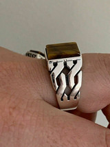 Men Real Solid 925 Sterling Silver Tiger/'s Eye Ring Size 7-13 Pinky Oxidized