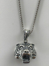 """Solid 925 Sterling Silver 3D Tiger Cheetah Women's Men's Pendant W. 22"""" Chain"""