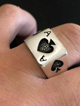 Solid 925 Sterling Silver Men Ace Of Spades Ring Lucky Poker Card Hand Size 7-13