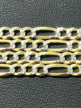 Figaro Chain Two Tone 14k Gold Solid 925 Silver Diamond Cut ITALY Men Women 4mm