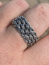 Mens Braided Weave RING Oxidize Rhodium Over Solid 925 Silver Pinky Wedding Band