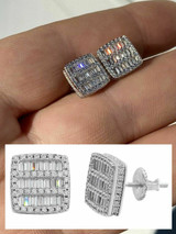 Mens Real Solid 925 Sterling Silver Iced Baguette CZ Earrings Studs 10mm Aretes