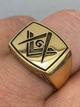 Mens 14k Gold Over Real Solid 925 Sterling Silver Free Mason G Masonic Ring 7-13