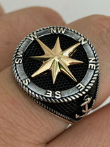 Men 14k Gold & Real Solid 925 Sterling Silver Anchor Sailor Compass Ring Sz 7-13