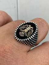 Mens Real Solid 925 Sterling Silver Ring Albanian Kosovo Double Headed Eagle