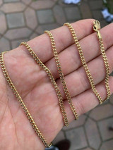 """Men's Gold Miami Cuban Link Chain 3mm 14k Gold Over Stainless Steel 18-30"""" Long"""