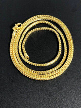 Men's Franco Chain Real 14K Gold Over Solid 925 Sterling Silver 2mm ITALY MADE