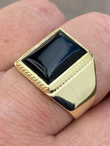 Mens 14k Gold Over Real Solid 925 Silver Black Onyx Ring Size 7 8 9 10 11 12 13