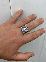 Mens Real 925 Sterling Silver Ring Albanian Double Headed Eagle Islamic Crescent