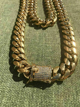 Men's Miami Cuban Link Chain 18k Gold Plated Stainless Steel 14mm Diamond Clasp