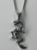 """Solid 925 Sterling Silver Chinese Pagan Dragon Mens Pendant W. 22"""" Chain"""